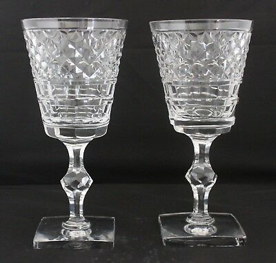 Pair Of Hawkes Crystal Marquis Of Waterford Pattern Water Goblets Square Bases