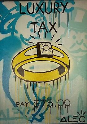 Luxary Tax by Alec Monopoly 12x16 FRAMED  Canvas FREE SHIPPING