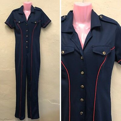 SIZE 10-12 VINTAGE JUMPSUIT NAVY PIN-UP COSTUME 50s STYLE CATSUIT (jp8)