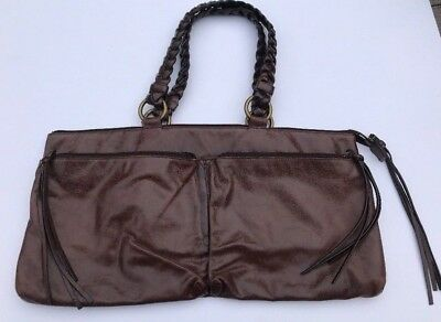 91683b421c HOBO International Purse Handbag Dark Brown VINTAGE LEATHER double outer  pocket