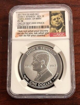 2017 Brit Virgin Island $1 John Kennedy Anniversary Of Birth Rev Proof NGC PF70