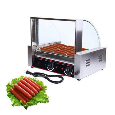 Commercial 24 Hot Dog 9 Roller Grill Cooker Machine W/ cover CE 1260W Ridgeyard