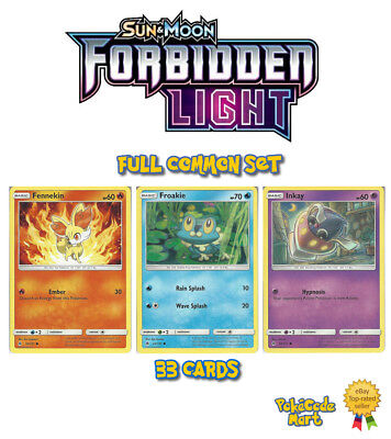 Pokemon Sun & Moon Forbidden Light Full Common Set (33 Cards)