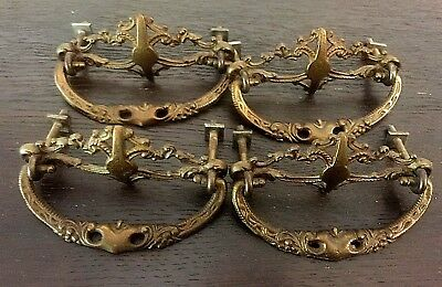 """Antique Pull (4) Bail Victorian Cast Brass Fine Detail Real Antiques 3"""" Centers"""