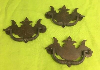 SET OF 3 CHIPPENDALE FEDERAL Steel / BRASS  DRAWER PULLS , Dresser Hardware
