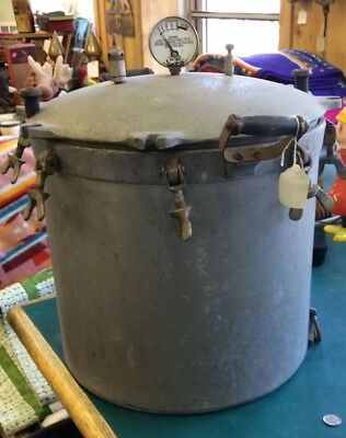 Vintage Antique Montgomery Wards Large Cast Aluminum Pressure Cooker