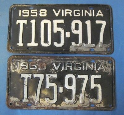 1958 Virginia License Plates Matched Pair