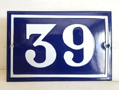 Antique French Dark Blue Enamel Porcelain Door House Gate Number Sign Plate 39