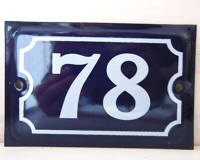 Antique French Dark Blue Enamel Porcelain Door House Gate Number Sign Plate 75