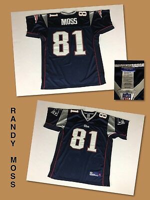 0a4c249a2 Men s RANDY MOSS New England Patriots On-Field Reebok STITCHED Jersey 50  Large