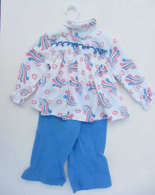 Vintage baby hippie top pink and blue trousers age 2