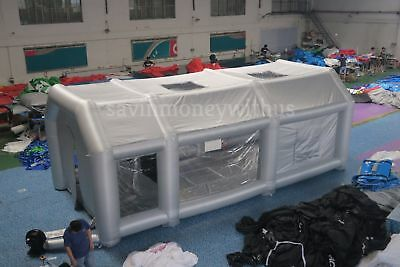 26x13x10Ft Inflatable Spray Paint Booth Custom Tent Car+Filtration System+ 2 Fan