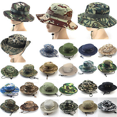 Army Jungle Boonie Flat Camo Unisex Wide Birm Bucket Hats Special Forces Sunhat