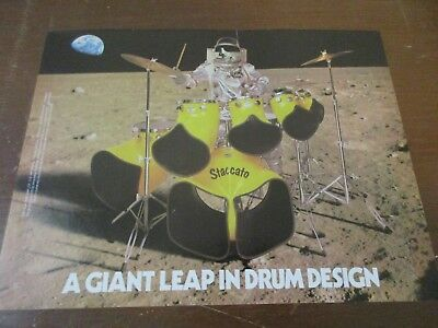 Staccato Drums - Spaceman Astronaut Drummer 1980's Magazine Print Ad