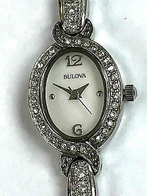Bulova 96L199 Swarovski Crystal Mother Of Pearl Stainless Ladies Watch WARRANTY