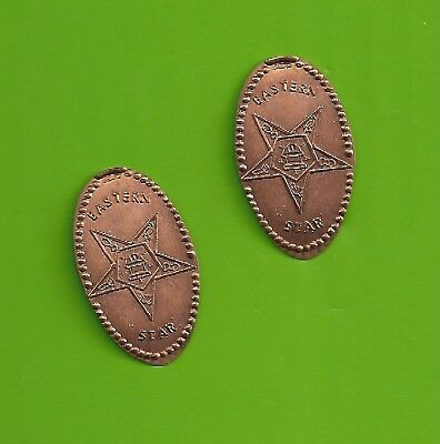 ELONGATED PENNY WITH  EASTERN STAR SYMBOLS ... Lot of 2