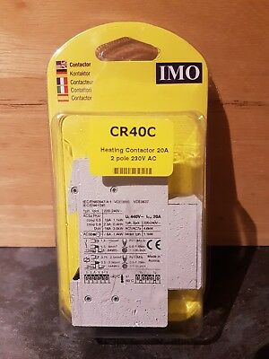 Imo Cr40C 20 Amp 2 Pole 230V Ac Coil, Heating Contactor * New Condition *