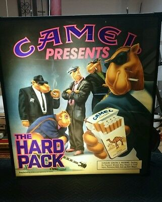 Rare Vintage Smokin' Joe Camel Double Sided Back Lit Advertising Sign Man Cave