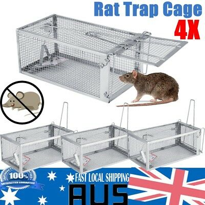4PCS Rat Trap Cage Box Animal Pest Rodent Mice Mouse Control Bait Catch Silver