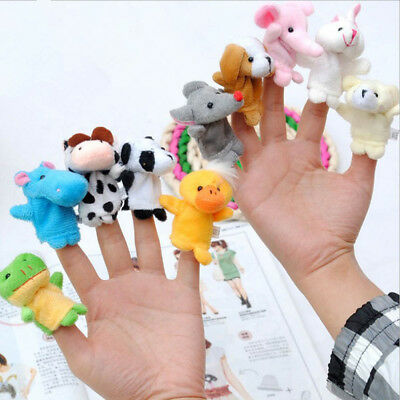 10Pcs Family Finger Puppets Cloth Doll Baby Educational Cartoon Animal Hand Toy