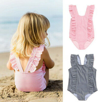 Infant Kids Baby Girls Striped Bikini Ruffles Swimsuits One Pieces Bath Swimwear