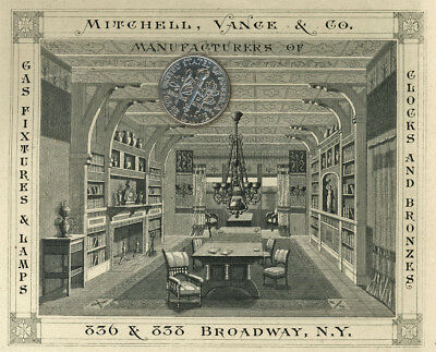 1880 advertising card MITCHELL VANCE COMPANY Broadway NEW YORK Clock Lamp Bronze