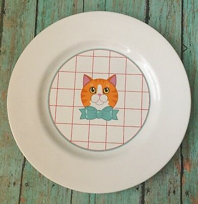 Vtg Vandor Cat Plate Small Round Dish Orange Tabby Blue Bow Checkered Kitty