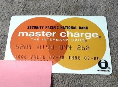 Master Charge from Security Pacific National Bank Vintage 1978-80 Credit Card