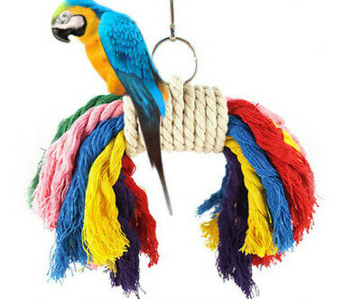 Colorful Parrot Bird Chew Swing Toy Parakeet Cockatiel Budgie Cage Rope Harness
