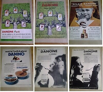 Lot 6 Publicites Anciennes Danone Yaourt Yougourt - 1962/1963/1964 - Advertising