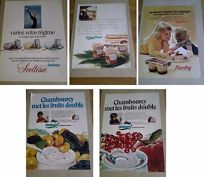 Lot 5 Publicites Anciennes Chambourcy Yaourt / Yogourt- 1971 - Advertising