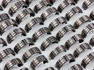 Wholesale Lot 50pcs 6MM Gothic 12 Of Yuefen tTtanium Steel Mens Rings Party Gift