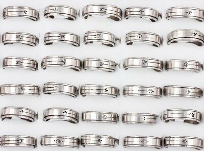 FREE Wholesale Lots Mixed 10Pcs Rotate Stainless Steel Women Men Ring Party Gift