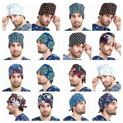 New Women's and Men's Printed Scrub Cap Surgery  Hat Surgical Multiple Colors