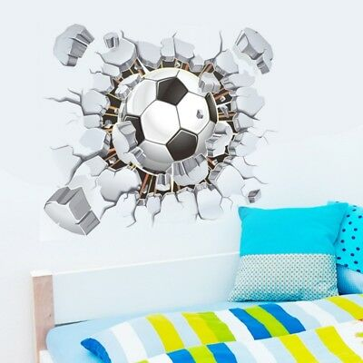 3D View Football Wall Stickers   Cartoon Wall Decals For Kids Boys Bedroom  Decor