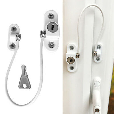 DOOR WINDOW RESTRICTOR Cable Limiter Lock Child Safety Wire Locks With Key New