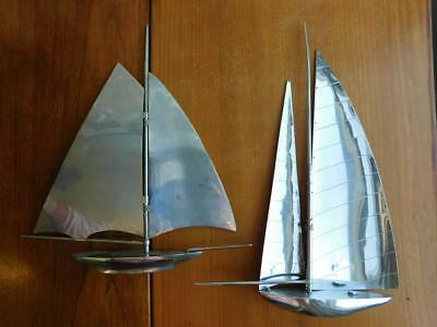 2x Art Deco Chrome Plated Sailing Boats Yachts A/F Needing Stands
