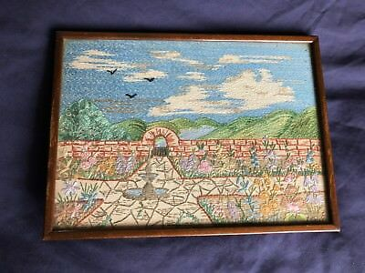Superb Vintage Heavily Hand Embroidered On Irish Linen Framed Picture / Panel