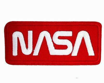 Nasa Logo Red Space Program Embroidered Patch Iron Sew On Appllique