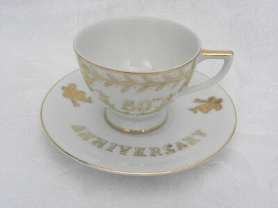 Vintage Lefton Hand Painted China 50th Anniversary Cup and Saucer