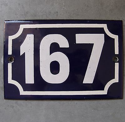 Antique French Enamel Steel Door House Street Gate Number Sign Plaque 167