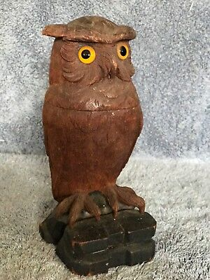 OWL ON PLINTH INKWELL Black Forest Hand Carved Wooden Figural Antique 19th C⚜️