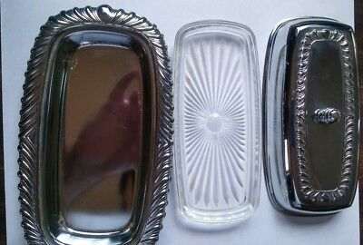 """9 1/4"""" Silver Platted Butter Dish w/ glass liner & cover"""