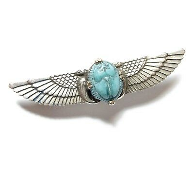 Beautiful Small Antique Egyptian Revival Winged Scarab Beetle Brooch Pin (A20)