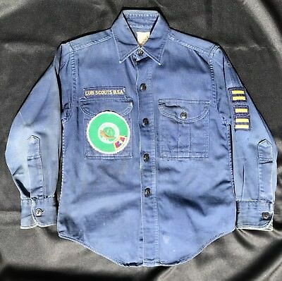 Vintage 1950's Cub Scouts America Official Shirt Sanforized With Patches Ohio