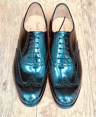 Barker Glasgow Black Brogues Size 9 Uk Bnib Goodyear Welted Leather Soles