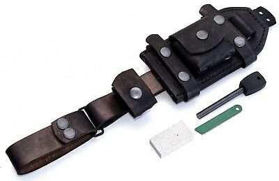 CFK Handmade Horizontal-Vertical Dangler Black Leather Knife Blade Pouch Sheath