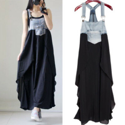 db174f0d2c Retro Suspender Women's Overall Women Denim Splice Chiffon Long Maxi Party  Dress