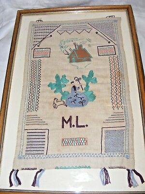 Antique Hand Embroidered, Sampler Embroidery Picture Bo Peep House Initials Ml