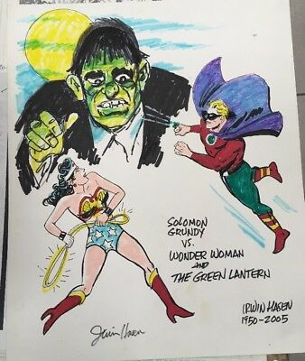 Original Color Art Sketch Irwin Hasen DC Comics Wonder Woman Green Lantern RARE